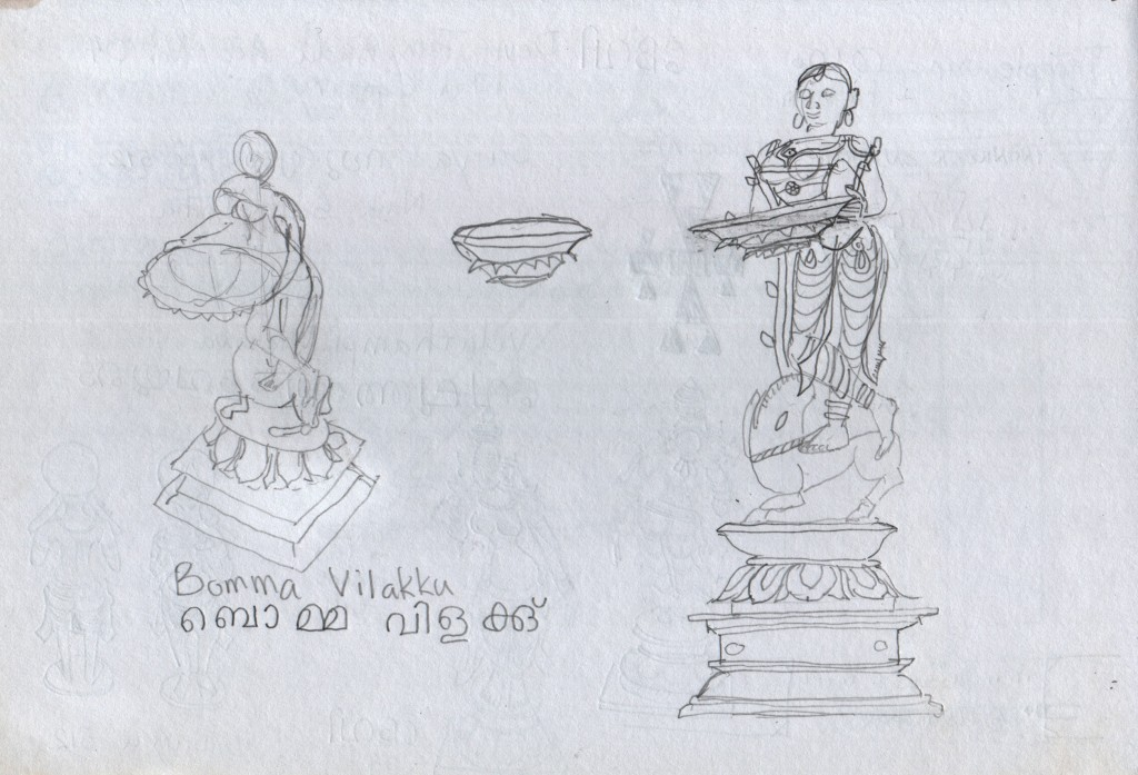 A bronze female figure holds a lamp. Napier Museum, Thiruvananthapuram. The label says Bomma Vilakku, ബൊമ്മ വിളക്കു്