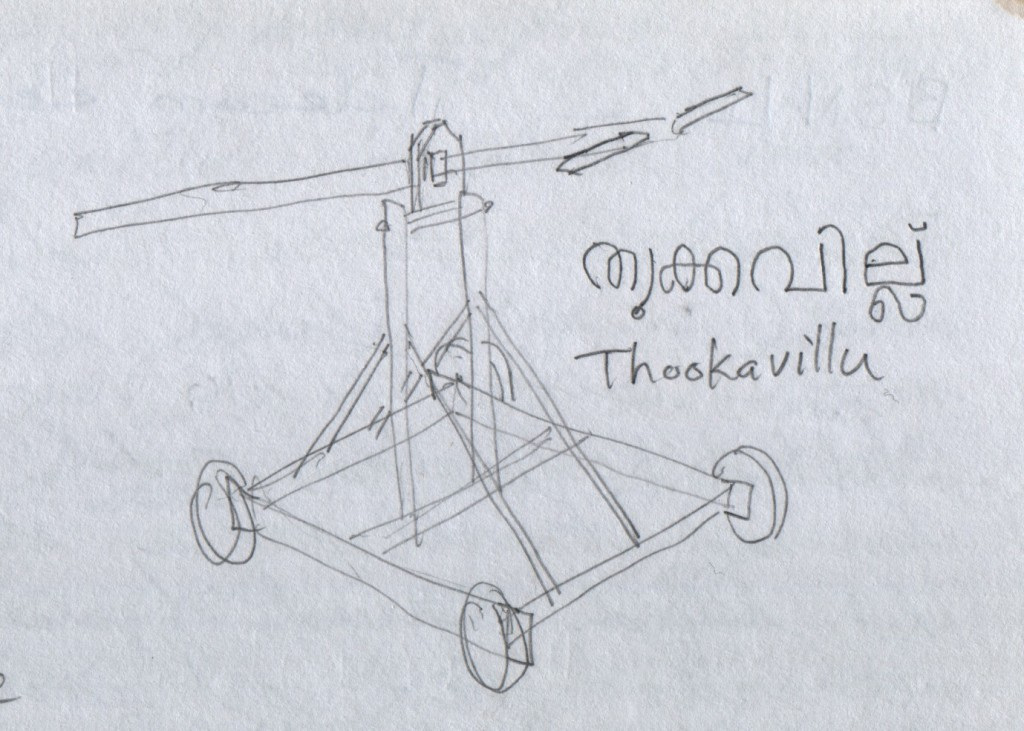 Men choose to be suspended from hooks that pierce their skin and hang from this vehicle's crossbar during a religious festival. One person explained that parents elect to do this to secure a good future for their children. The vehicle is called Thookavillu, or തുക്കവില്ല്