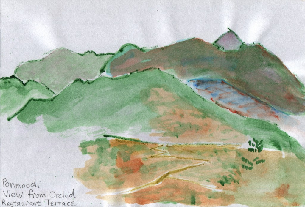Watercolour sketch of the view south from Ponmudi Hill Station.