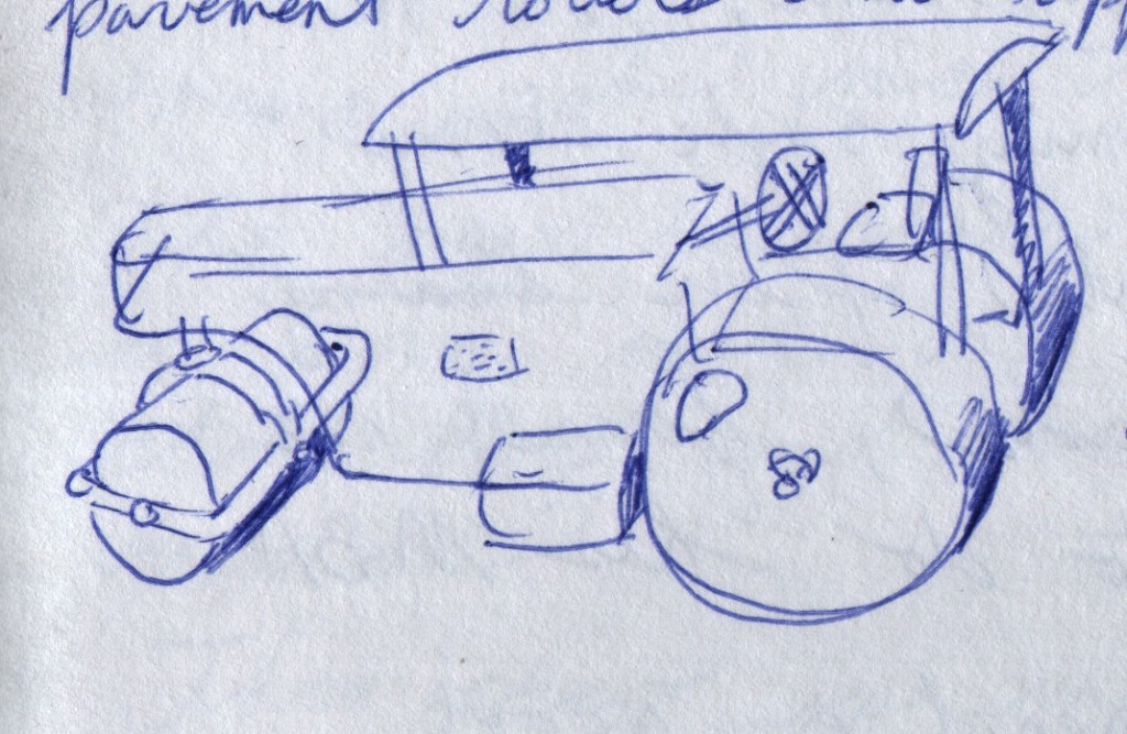 A road roller stood near the entrance to the Kerala State Science and Technology Museum in Thiruvananthapuram. This one appeared to have been retired. I drew this sketch from memory, as I felt self-conscious about standing in public and sketching. After overcoming my hesitancy, I later went to sketch the road roller in more detail.