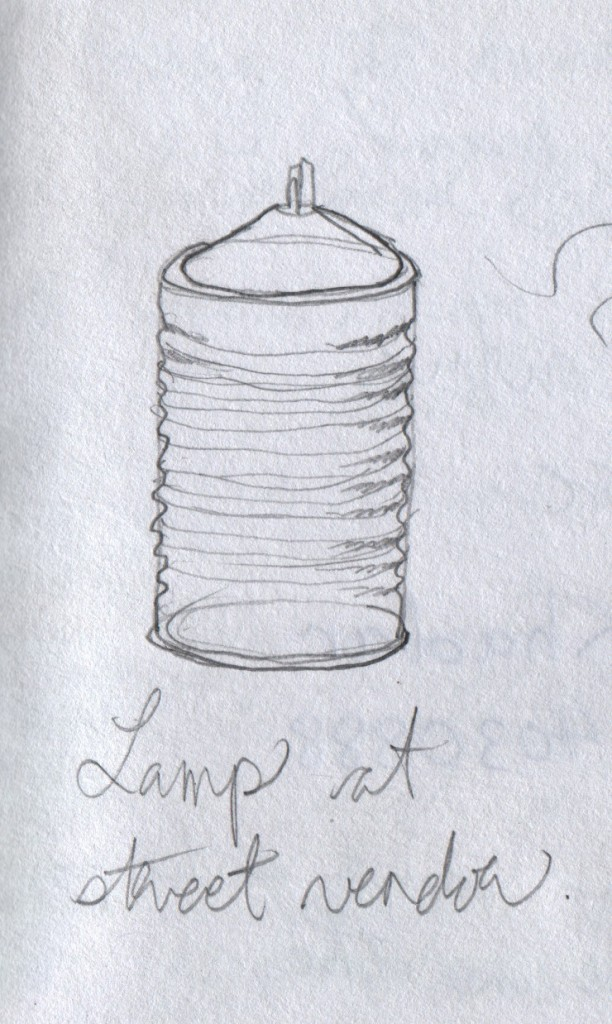 This metal oil lamp illuminated a food-vendor's stand in Thiruvananthapuram after sunset. The lamp is made of thin metal with a corrugated pattern impressed in it. I drew this from memory, and I cannot recall whether the corrugations ran horizontally or vertically.