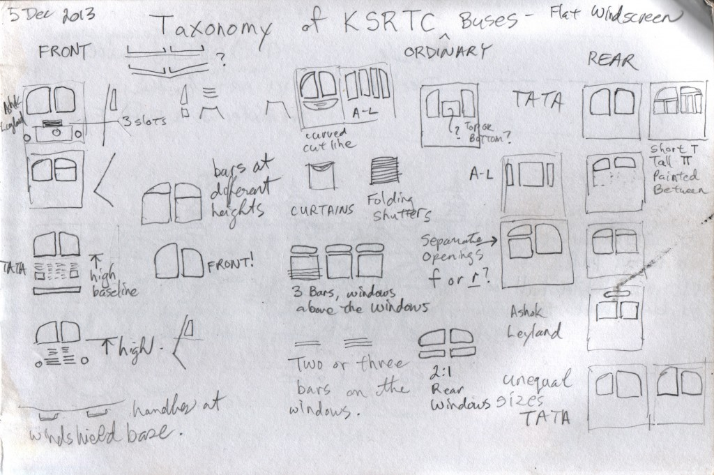 I like the KSRTC Ordinary buses. I liked seeing the variety of window patterns, and recorded the variants that I saw.