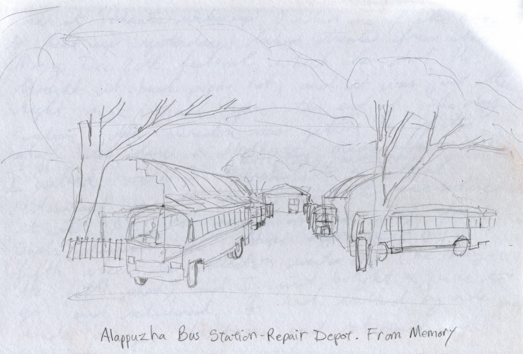 Alappuzha bus station repair depot, from memory.