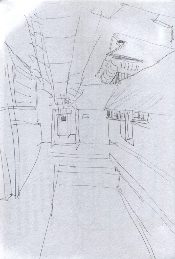 Hasty sketch of one of Krishnapuram Palace's courtyards.