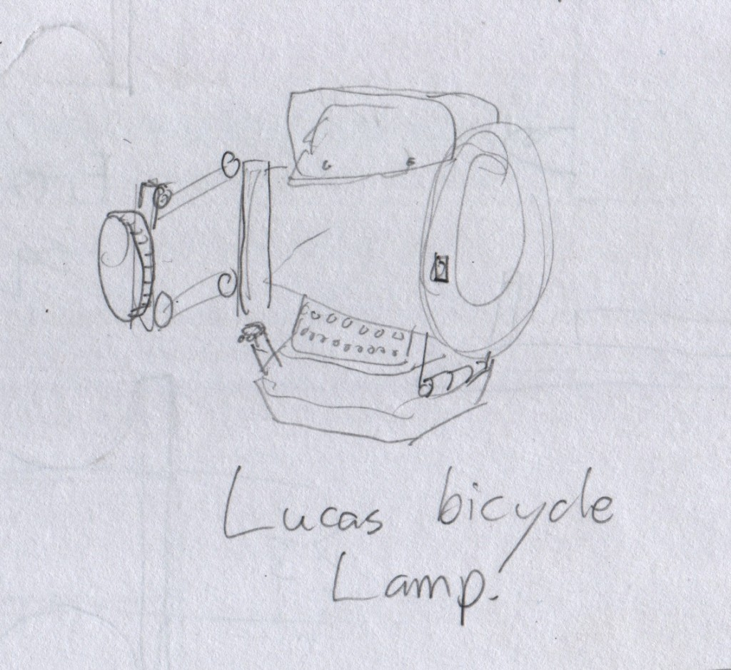 A vintage bicycle kerosene lamp made by Lucas, who also made electricals for automobiles and motorcycles. At the Revi Karuna Karan Memorial Museum.