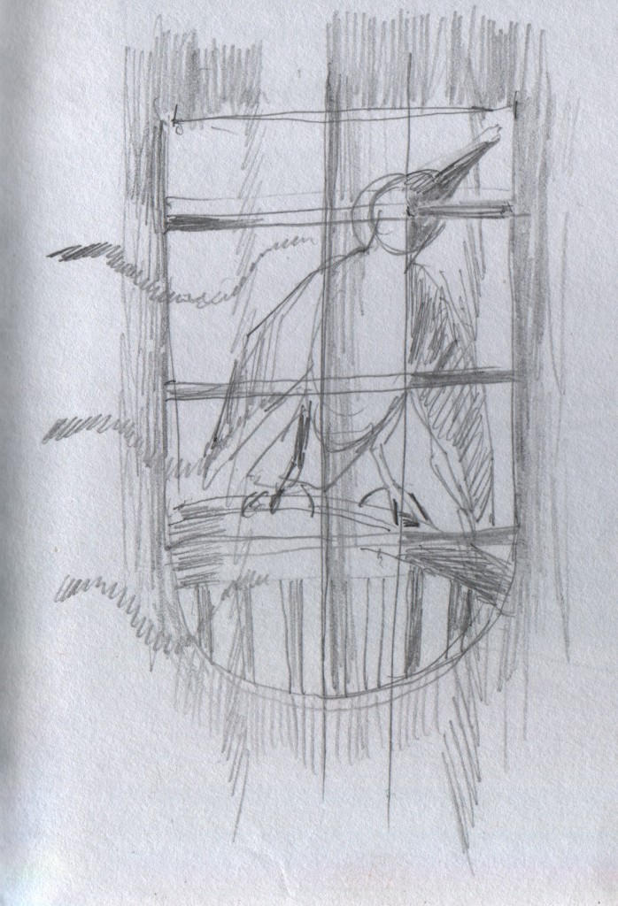 One morning a crow perched on a rattan chair on the porch outside the window and tapped its beak loudly on the glass. I viewed the crow's antics through the mosquito net that enclosed my bed.