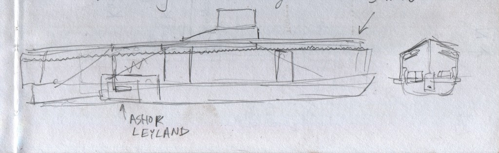 A very rough sketch of the State Water Transport Department boats that carry people through the canals, or backwaters, to the settlements on islands near Alappuzha. The wooden hull is long and narrow, with sheltered seating for, I estimate, about 80 people. The helmsman is in a bridge above the main deck. An engineer operates the Ashok Leyland six-cylinder diesel in accordance to bell signals from the helmsman. Deckhands handle the ropes for docking. The teamwork appears expert, and they guide the boat into the jetties with aplomb.