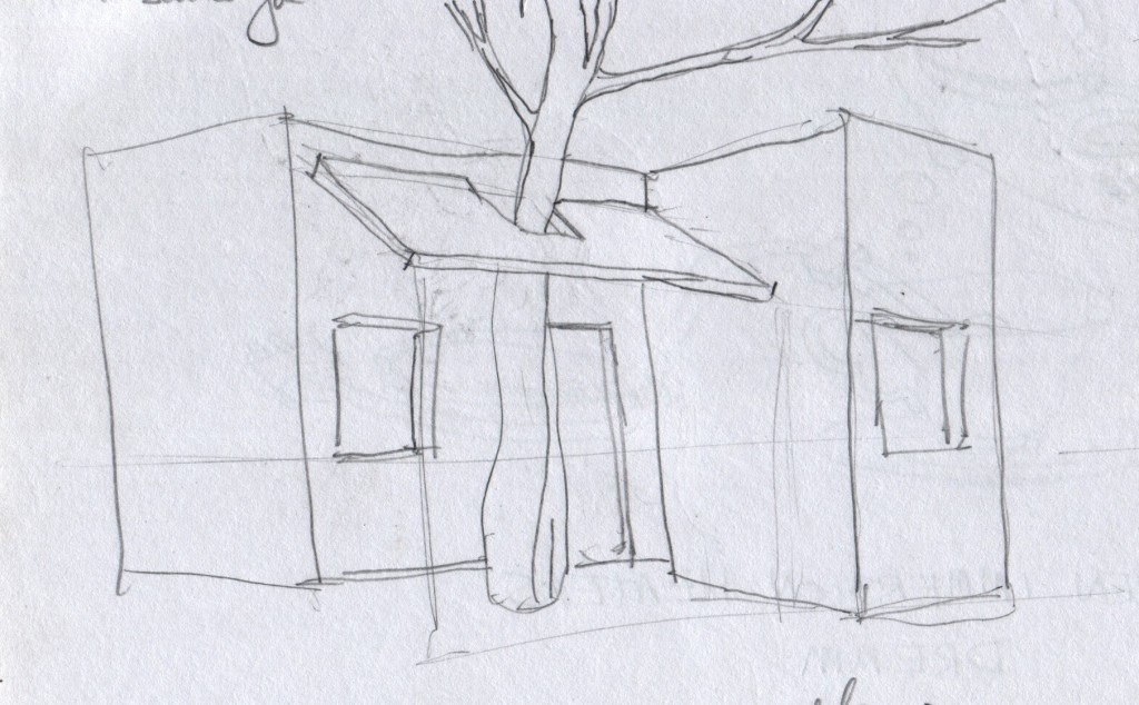 On my walk from Thiruvananthapuram's airport into downtown Thiruvananthapuram, I passed by a house that had an opening built in to its awning to accommodate a pre-existing tree. It made an impression on me, and only weeks later did I jot down a sketch of how I remembered it.