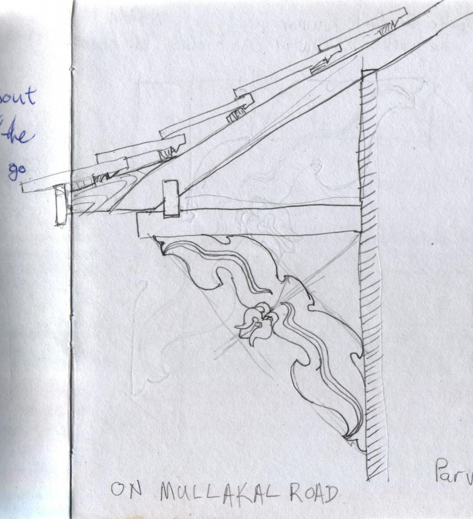 I made several attempts to sketch these carved roof supports on Mullackal Road in Alappuzha. The proportions were key to the feeling of the carvings.