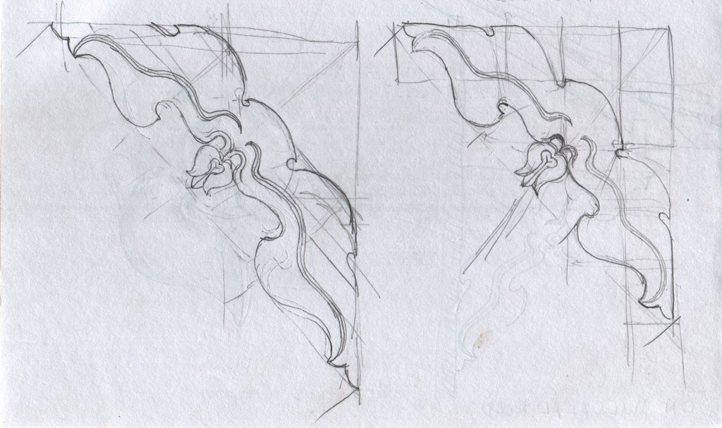 More of my attempts to sketch the proportions just right. The original designers had a method for composing this carving, and I tried to discover the logic behind the layout.