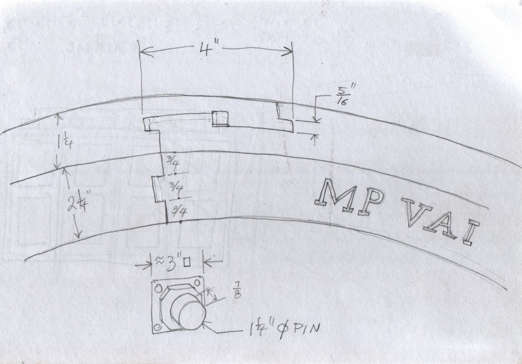 "This close-up sketch shows how the joints on the paddle wheel's ring were made. After the ring segments have been fitted together, a square wooden key slides down the centre of the joint to lock the parts in place. ""MP VAI"" is precisely carved into the wooden ring. Is this the maker's name, or the owner's name? Below that is a sketch of the steel or iron boss that forms the pin on which the paddle wheel turns. Years ago I had leafed through a book on Japanese joinery, illustrating such locking connections. At the time I had marvelled at the precision and ingenuity required for such joints, and thought that it seemed scarcely possible that someone could execute such work. I had until now never seen such joinery in an actual object. This paddle wheel is on display at Gowri Residence in Alappuzha. The Malayalam word for such a wheel is ജലചക്രം (Jalachakram)."
