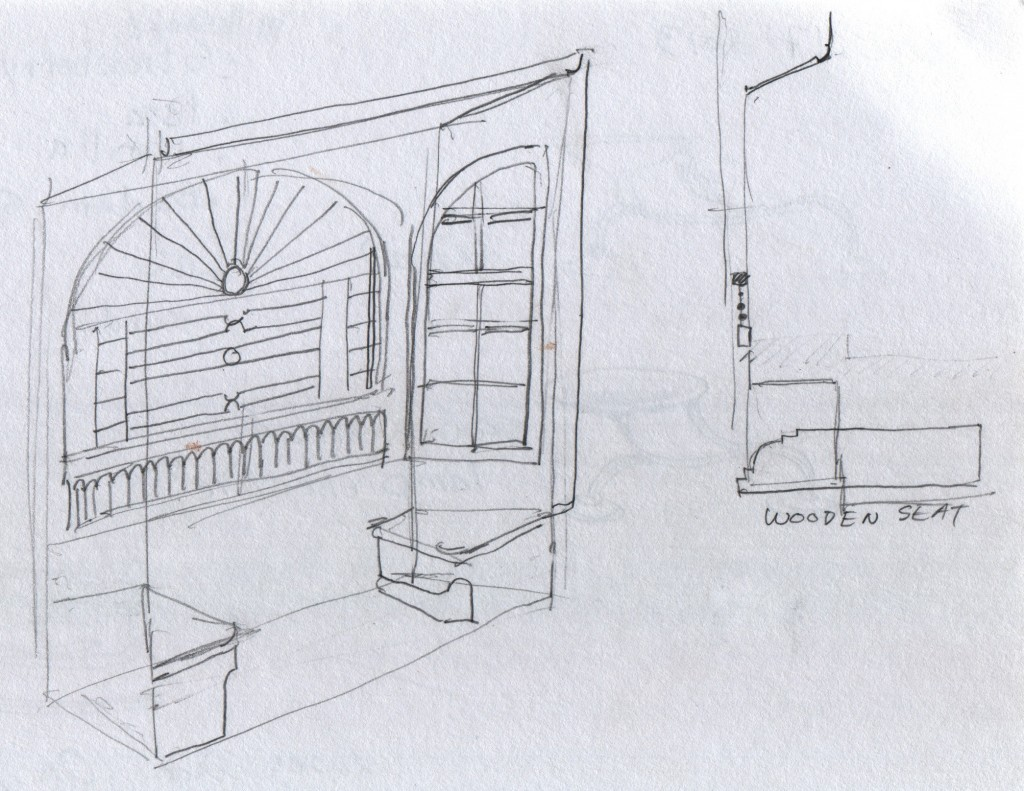 """In Fort Cochin's Dutch Palace, this alcove caught my eye. Two built-in seats flank a recess in the wall, having a ceiling lower than the main room. The recess itself has angled sides, making the alcove open out welcomingly to the room. A screen guards the window opening, and the casement windows are filled with small panes. Walking through any thoughtfully designed old building is like viewing exhibits illustrating the main points in Christopher Alexander's """"A Pattern Language"""", a guide book for building agreeable living spaces, on scales ranging from one room up to a town."""