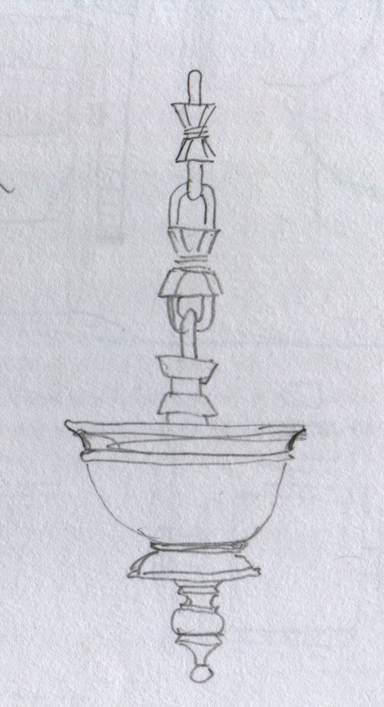 Bhasmathattu. This is a wooden vessel hanging from a carved wooden chain. This vessel contains holy ash that priests prepare at a temple. Devotees apply this ash to their forehead after performing morning prayer, or pooja. I think that the Malayalam word for this ash vessel is ഭസ്മത്തട്ട് (bhasmathattu). I think that the word for the Ettukettu palace is എട്ട്കെട്ട് (ettukettu). Ettukettu, Hill Palace Museum, Thripunithura