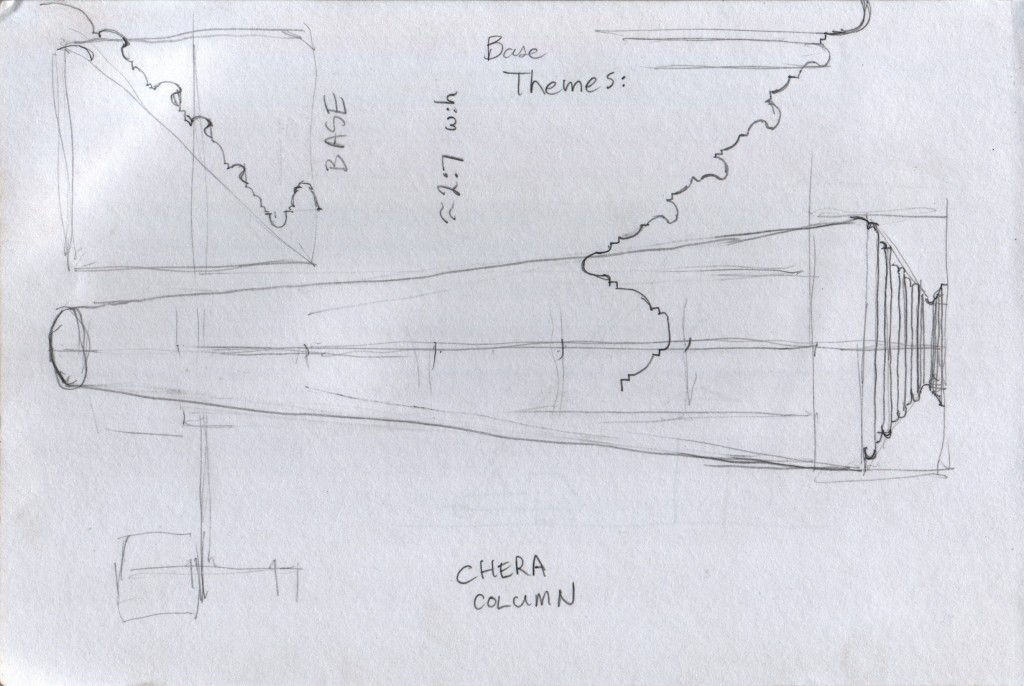 "This collage is three studies of a Chera column at the Hill Palace Museum in Thripunithura. The zig-zag curved lines are my attempt to draw the base profile. One profile drawing, ""BASE"", is rotated 90°."