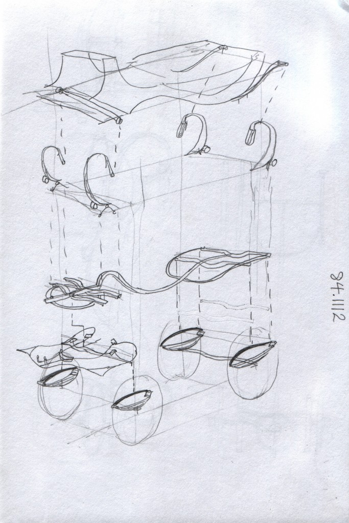 Exploded sketch of the royal carriage suspension. Semi-elliptic springs suspend the chassis on solid axles front and rear. Four more quarter elliptic springs suspend the cabin on leather straps. Accession number 84.1112 Hill Palace Museum, Thripunithura