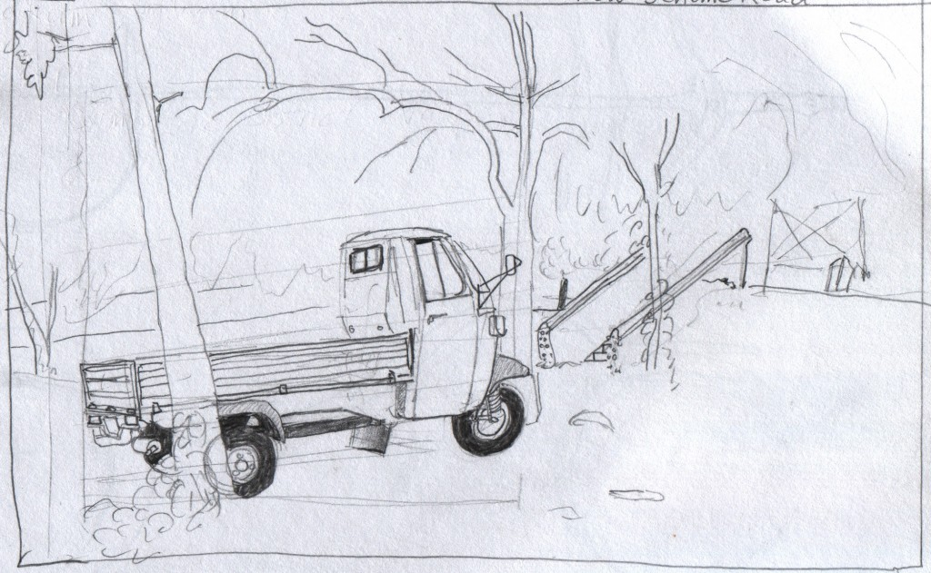The museum closes for a lunch hour, and the visitors must go outside. I sat amongst the trees in the palace grounds and sketched this three-wheel pickup truck during the lunch hour. Such three-wheel trucks provide much of the transportation in Kerala, as part of a road population that also includes mid-sized trucks and semi-trailers. Hill Palace Museum, Thripunithura