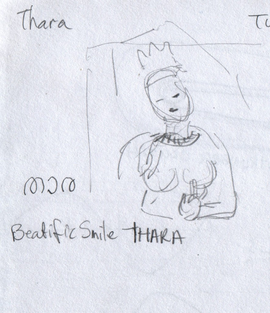 This figure of Thara, താര, had a beatific smile. No, my sketch does not do it justice. Hill Palace Museum, Thripunithura.