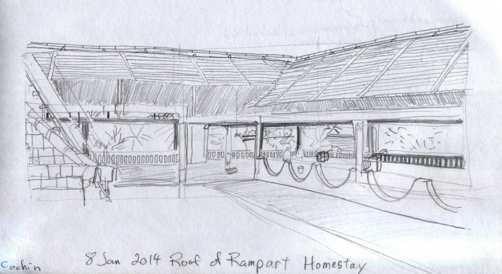 This sheltered terrace is on the roof of the second homestay where I resided in Fort Cochin. Though it was off limits, I sat outside the fence on the stairs and sketched it. I did not see anyone use the patio.