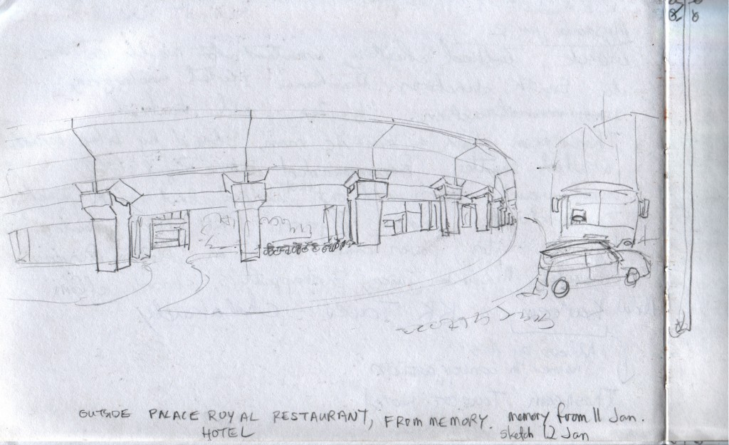 This highway flyover stands in Chalakudy. I tried to memorize what it looked like, and this is my sketch from memory. I walked under this flyover a couple of times when I went to eat at Hotel Palace Royal restaurant.