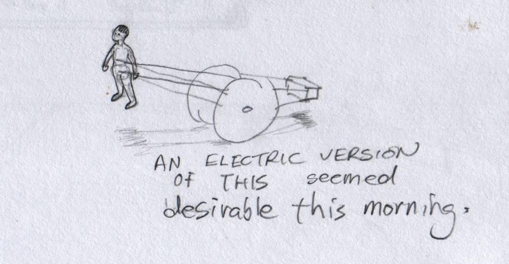 An electric version of this two-wheeled vehicle seemed desirable. Boca del Lupo created this device for use in Fall Away Home. It occurred to me that if powered by an electric motor and battery pack, it would make a most agreeable vehicle to travel on Vancouver's bicycle-dedicated roads. My imagination probably got stimulated by the ceremonial vehicle, called Thookavillu or തുക്കവില്ല്, that I saw in Napier Museum in Thiruvananthapuram.