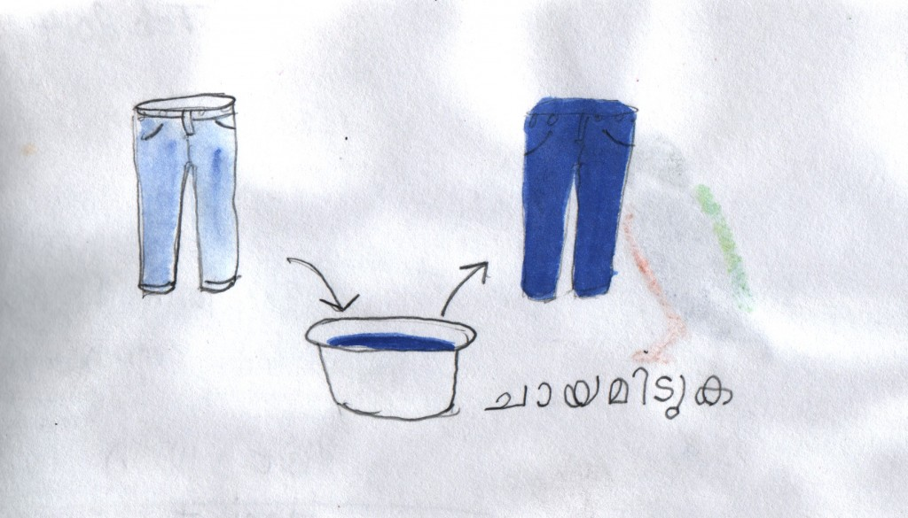 I drew this sketch in order to explain that I wanted to buy blue dye. I had a dictionary with me, where I found the word ചായമിടുക (chaayamituka) which has several meanings. A sketch helped me narrow it down to the meaning that I had in mind.  My blue trousers had begun to fade, and I wanted to dye them to revive their appearance. It turned out that the local shops had dye, but were sold out of blue.