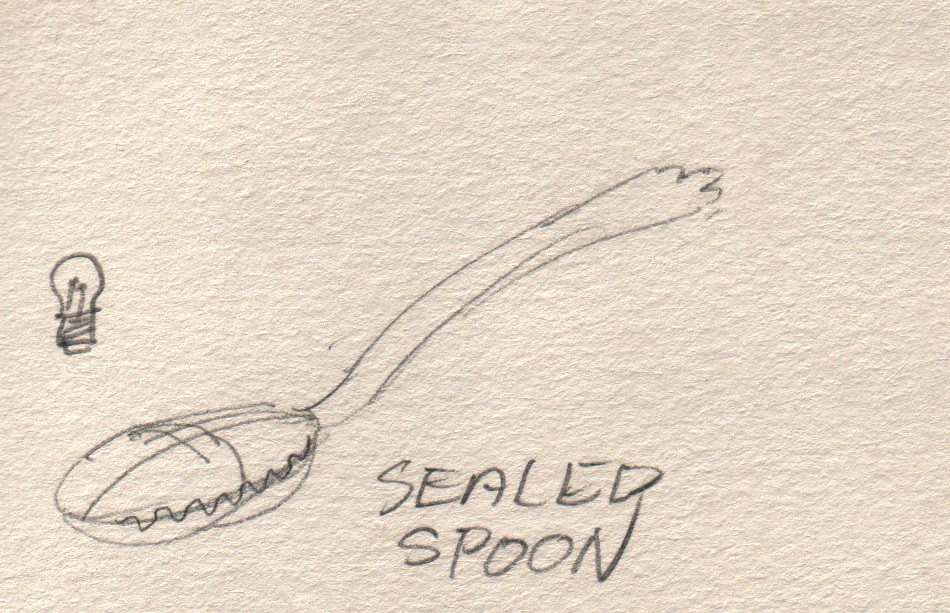 I thought that a spoon with a hinged lid that can snap closed was a nice idea. I imagined a wavy margin such as you find on a giant clam.