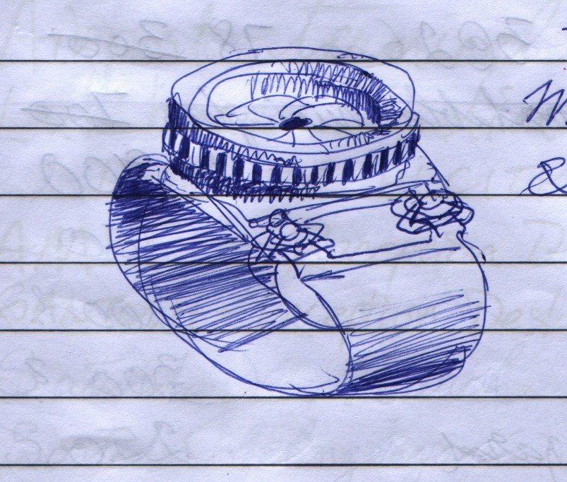I imagined that a wristwatch could combine with the aesthetics of a camera lens, including an iris diaphragm that one could adjust by turning the bezel ring. The lugs that connect to the strap could have the little triangular split rings that attach a camera strap to a camera.